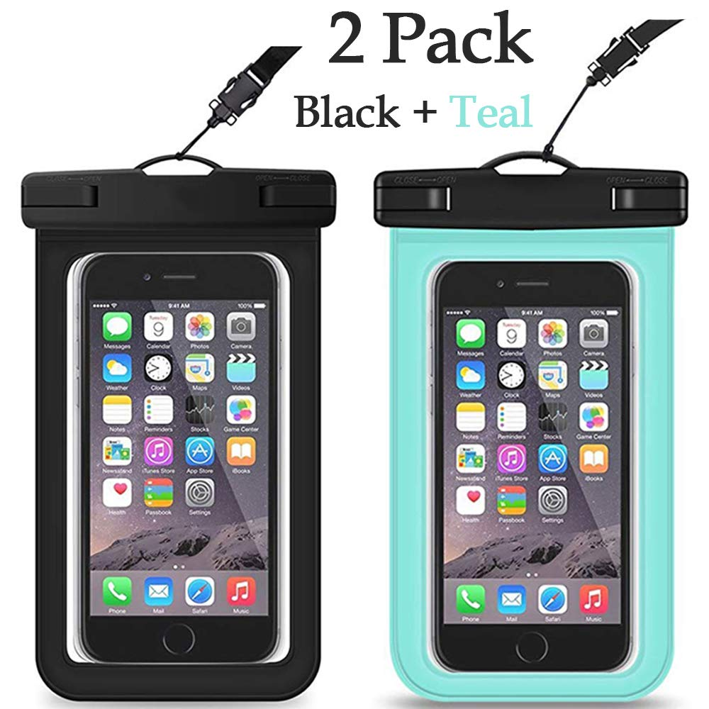 ROSAUI Universal Waterproof Case Pouch Cellphone Dry Bag with Lanyard for iPhone Xs Max XR X 8 7 Plus 6S, Samsung Galaxy S10 Plus S10e S9 Note 9 HTC LG Sony Nokia Pixel 3 XL up to 6.5 inches-2 Pack by ROSAUI