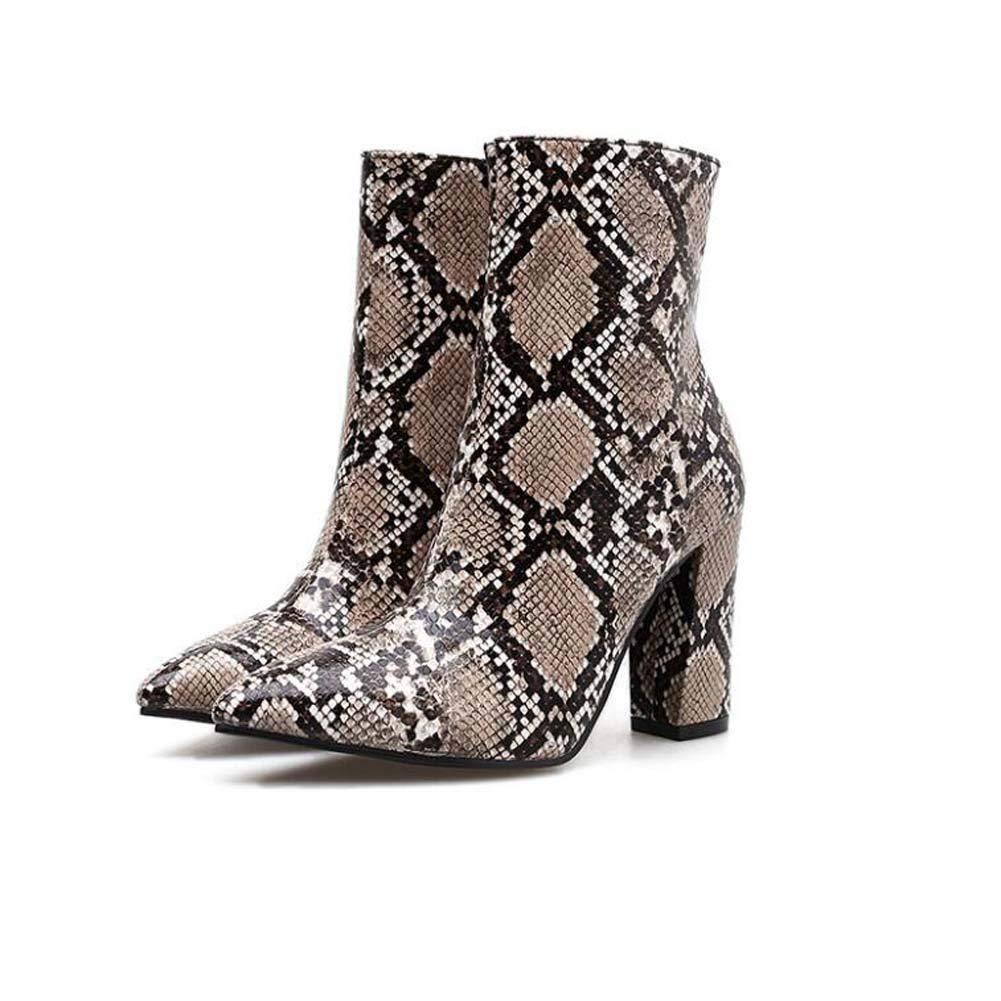 Mamrar 10cm Chunkly Heel Snake Pattern Ankle Stiefelie Party Dress Stiefel Frauen Sexy Pointed Toe Zipper OL Court schuhe Eu Größe 35-40