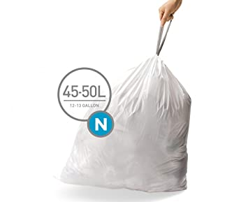 simplehuman Code N Custom Fit Drawstring Trash Bags, 45-50 Liter / 12-13 Gallon, 3 Refill Packs (60 Count)