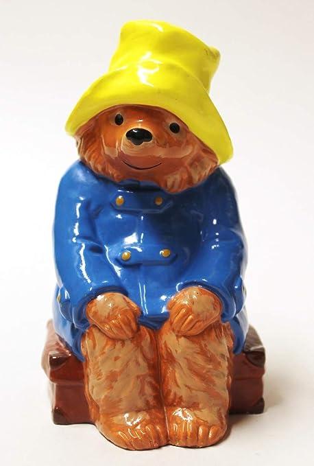 "Paddington Bear 7"" Vinyl Coin Bank Red Cap  Blue Raincoat"