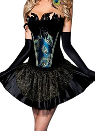 Womenu0027s Burlesque Peacock Feather Corset Skirt Outfit Party Halloween Dress Costumes  sc 1 st  Amazon UK & Womenu0027s Burlesque Peacock Feather Corset Skirt Outfit Party ...