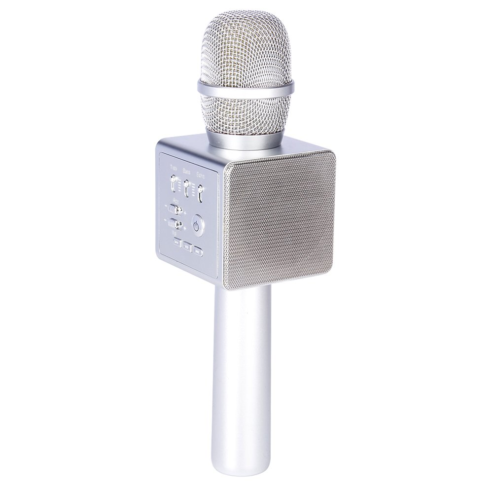 Micgeek i6,Wireless Karaoke Microphone,Mini Handheld Karaoke Player Built-in Bluetooth Speaker, Aluminium Alloy Karaoke MIC Machine/tools for Home KTV/Phone/PC With Accompaniment(Silver)