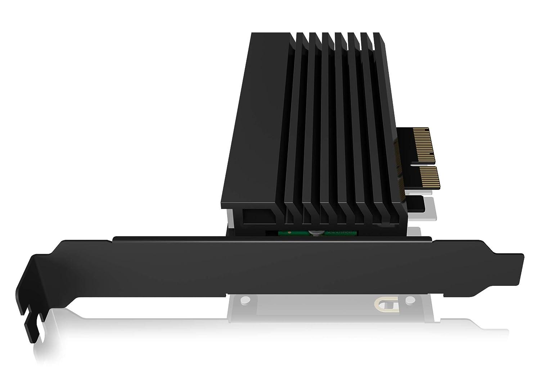 M.2 NVMe SSD zu PCIe 3.0 Adapter ICY BOX PCI Express Karte 2260 M-Key K/ühler 2280 2242 schwarz 2230 LED Beleuchtung