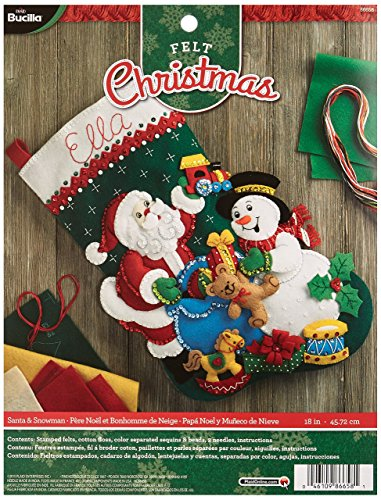 Bucilla 18-Inch Christmas Stocking Felt Applique Kit, 86658 Santa and Snowman