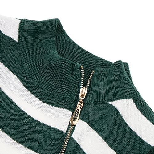 Perfk レディース タートルネック ノースリーブ ジッパー 編み ニット トップス 薄手 リブ ハイネック 通気性 全3色