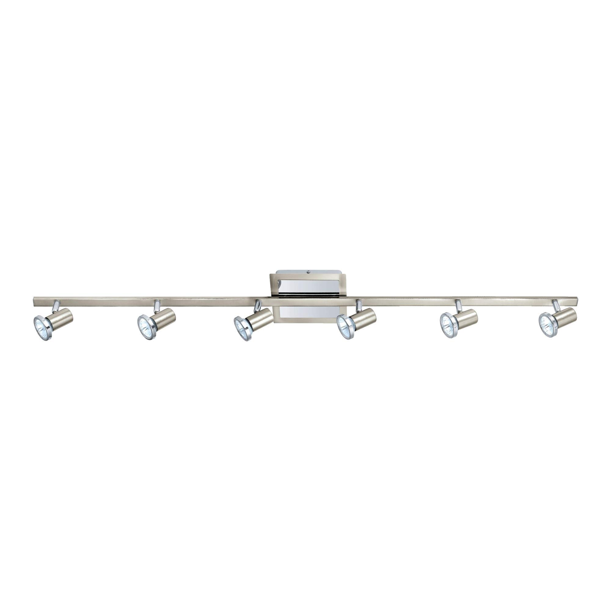 NOMA Track Lighting | Adjustable Ceiling Light Fixture | Perfect for Kitchen, Hallway, Living Room, and Bathroom | Nickel and Chrome, 6-Light