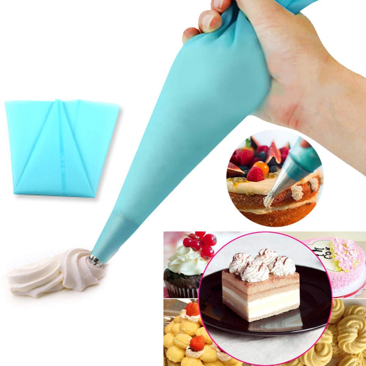 OUMOSI Fondant Cake DIY Decorating Tools Set Kit 6Pcs Cake Decorating Tips Set+1 Reusable Silicone Piping Pastry Icing Bag+1 Piping Tips Coupler