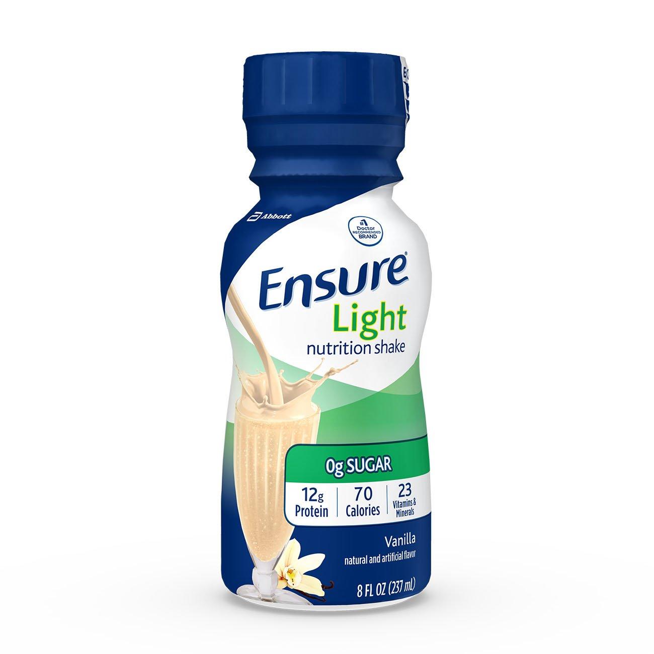 Ensure Light Nutrition Shake, 12g of high-quality protein, 0g Sugar, 2g Fat, Vanilla, 8 fl oz, 24 Count by Ensure Light