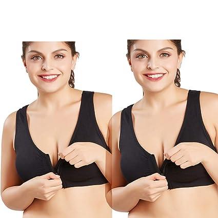 f50f15761 CHJM Women s Zip Front Sports Bra Wireless Post-Surgery Bra Active Yoga  Sports Bras (