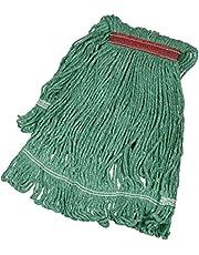 AmazonBasics Loop-End Synthetic Commercial String Mop Head, 1.25 Inch Headband, Medium, Green, 6-Pack
