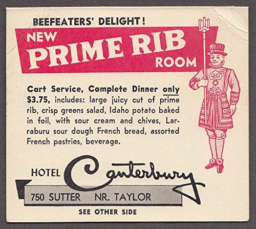 Hotel Canterbury Prime Rib Room tent card Ramos Fizz Brunch SF 1950s