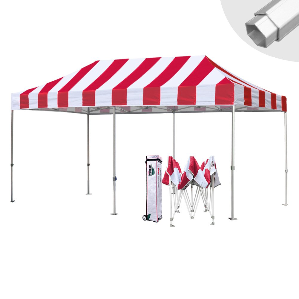 Eurmax 10 x 20 Easy Pop Upキャノピーカーポートウェディングパーティーテントwithローラーバッグ B073S4SQQ7 Striped Red Striped Red