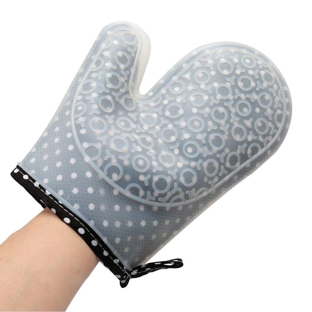 Gants de Four à Micro-Ondes domestiques Thicken Silicone Cloth Gants Haute Température Four de Cuisson Four Anti-Brûlure Double Protection à l'intérieur et à l'extérieur Gymnastique