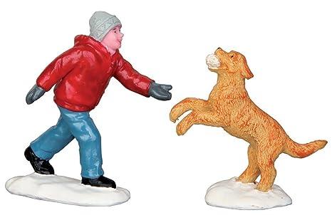 Amazon.com: LEMAX Village Collection perro en nieve ...