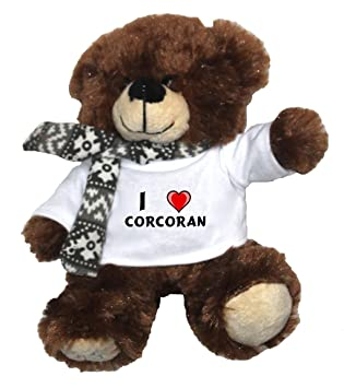 Oso marrón de peluche con Amo Corcoran en la camiseta (nombre de pila/apellido