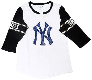 7bfe844e 5th & Ocean New York Yankees Women's 3/4 Sleeve V-Notch Slub Jersey