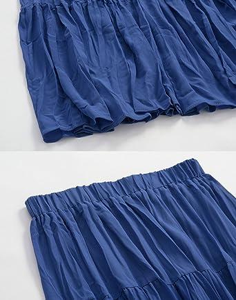 Yiiquanan Damen Lang Röcke Sommer Elegant High Waist A-Linie Falten Röcke  Prinzessin Rock mit Elastisch Bund (Blau, One Size)  Amazon.de  Bekleidung cf62c1f674