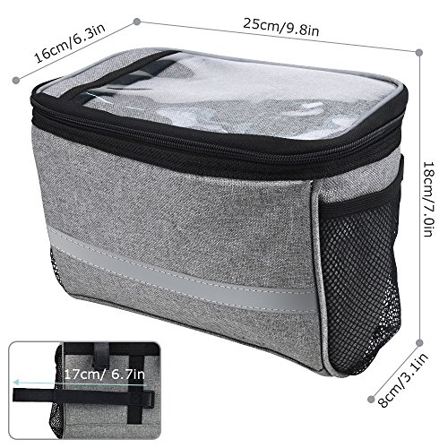 Bicycle BicycleStoreCycling Basket Handlebar Bag with Sliver Grey Reflective Stripe Outdoor Activity Pack Accessories Black 3.5L by Bicycle (Image #6)