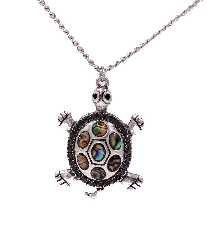 Mar Abalone Paua Shell tortuga collar en color plateado envejecido tono (en bolsa de organza)
