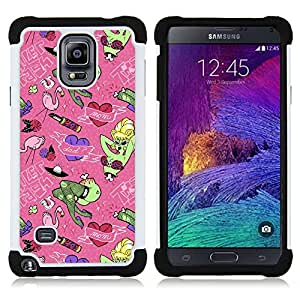 - dad mom family holiday art green monster/ H??brido 3in1 Deluxe Impreso duro Soft Alto Impacto caja de la armadura Defender - SHIMIN CAO - For Samsung Galaxy Note 4 SM-N910 N910