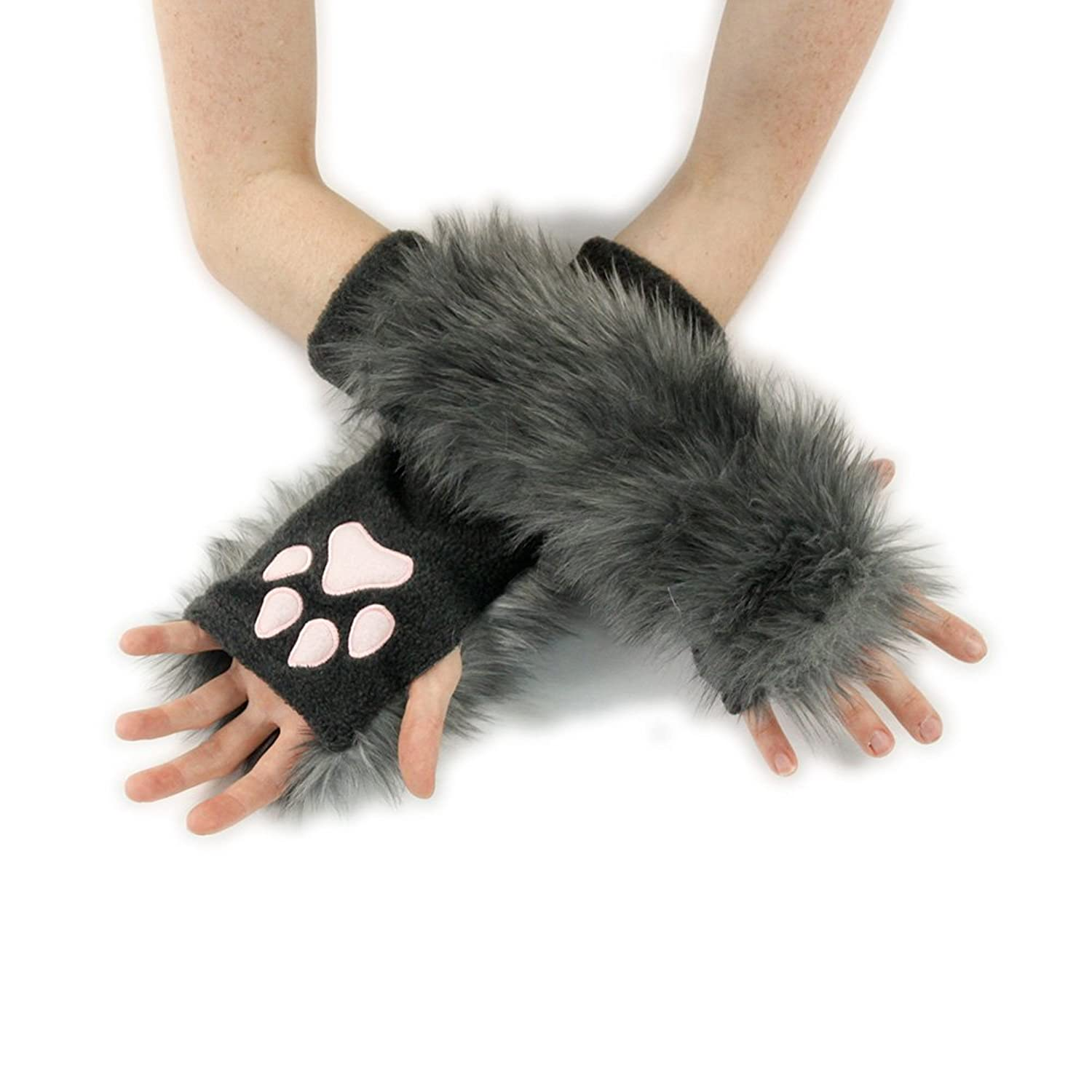 Pawstar Gray Fingerless Glove Paws - DeluxeAdultCostumes.com