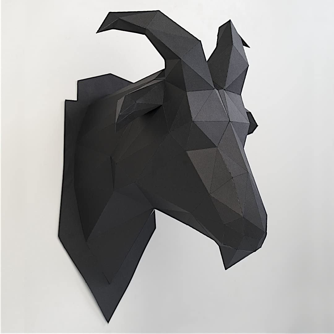 Diy 3d Papercraft Model Goat Head Handmade Wall Hanging Paper Arts And Crafts Kit Easy Assembly For Kids And Adults Pre Cut And Pre Creased Black Amazon Co Uk Baby