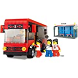 Public Transportation luxury city state town bus 318pcs building blocks passenger school bus fun toy set Educational playing Bricks Compatible to Other Brands - Great Gift for Children