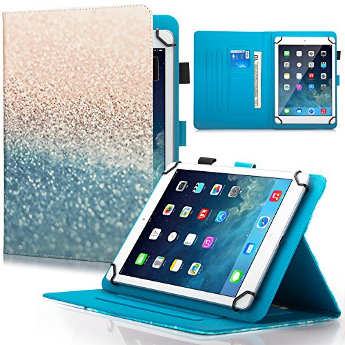 Dteck Universal 7.5-8.5 inch Tablet Case, Multi-Angle Stand Flip Wallet Case with Cards/Money Slots Magnetic Buckle Cover for iPad Mini,Kindle,Galaxy Tab & Other 7.5-8.5 inch Tablet - Beach Sand