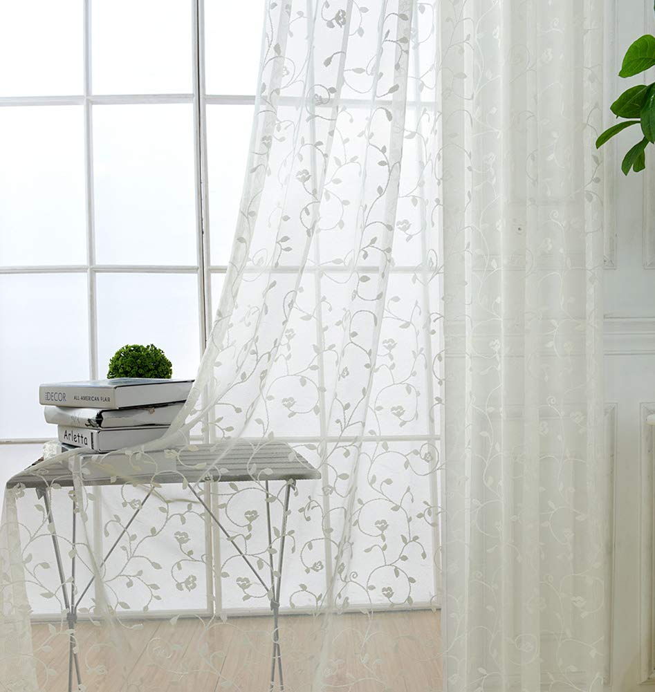 Aside Bside Luxuriant Vine Wrap Knitting Sheer Curtains Transparent Window Decoration Lodge Style Rod Pocket Top Houseroom Sitting Room Child Room (1 Panel, W 52 x L 63 inch, White)