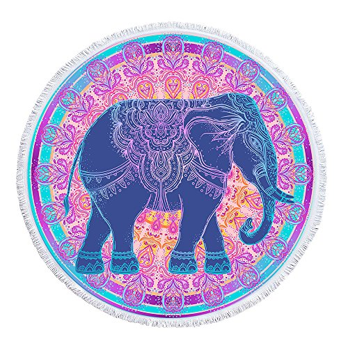 Indian Elephant Round Beach Towel,Mandala Bohemian Hippie Microfiber Large Beach Blanket with Tassel, 59 Inch, Pink Blue Purple (Elephant Beach)