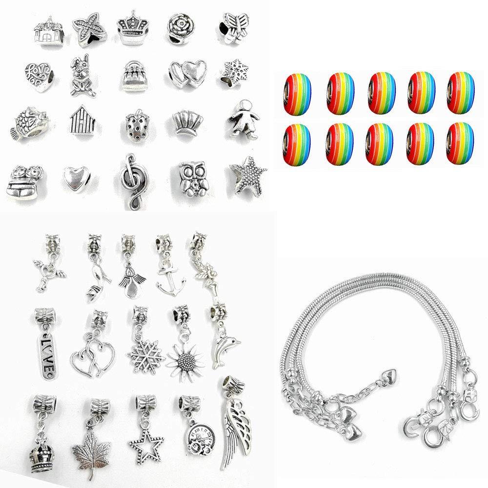 Charm Bracelet Kit DIY Girl Bracelets Jewelry Craft Kit Girl for Girl Giveaways Kids Birthday Party Favors Pulsera de Abalorios Gift for Girl Teens Handmade Friendship Bracelets