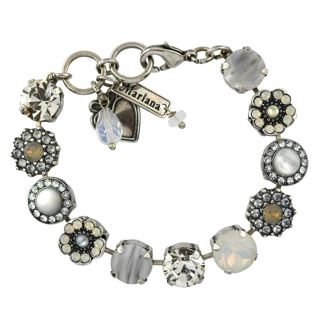 Mariana Jewelry Silk Bracelet, Silver Plated with Crystal, Nature Collection MAR-B-4084 1049 SP by Mariana