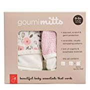goumimitts Soft Stay On Scratch Mittens-Stop Scratches and Germs, 2 Pack (0-3 Months, Enchanted Garden - Drops/Pink)