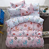4pcs Kids Bedding Sets Bedroom Set With One Duvet Cover Without Comforter One Flat Sheet Two Pillowcases With Twin Full Queen Size Deer Animal Design (Twin, Jungle Adventure)