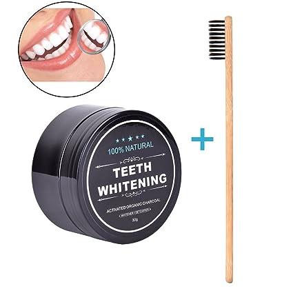 Polvo Para Blanquear Los Dientes, Bulary Activado Orgánico Charcoal Teeth Whitening Powder Para la limpieza