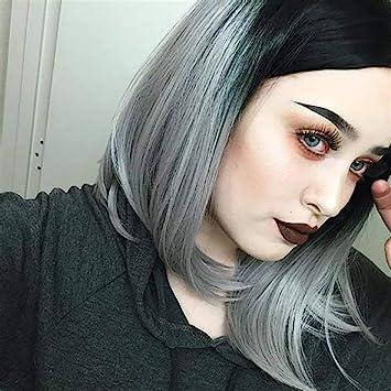 Amazoncom Difei Hair Black Ombre Silver Gray Short Bob Hairstyle