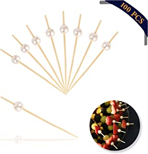 """4.7"""" Bamboo Cocktail Picks, Food Picks Martini Picks, Cocktail Skewers and Sticks, Bamboo Party Toothpicks for Appetizers (100 PCS) Pearl White"""