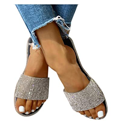 Sandals for Women Flat,2020 Crystal Comfy Platform Sandal Shoes Summer Beach Travel Fashion Slipper Flip Flops: Clothing