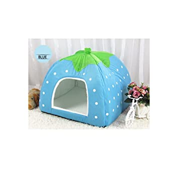 2pcs x Angelakerry Pet Dog Cat Bed Warm Cushion House Strawberry Kennel Doggy Soft Bed New