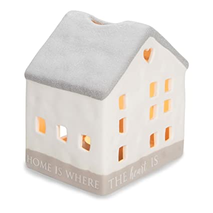 home is Where The Heart is Porcelain House Candle Holder