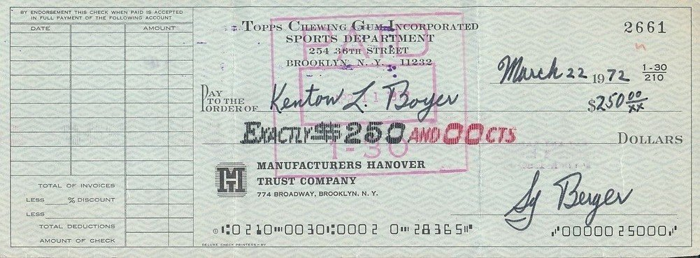 Autographed Topps Chewing Gum Processed Check To Ken Boyer Signed Sy Berger *2661