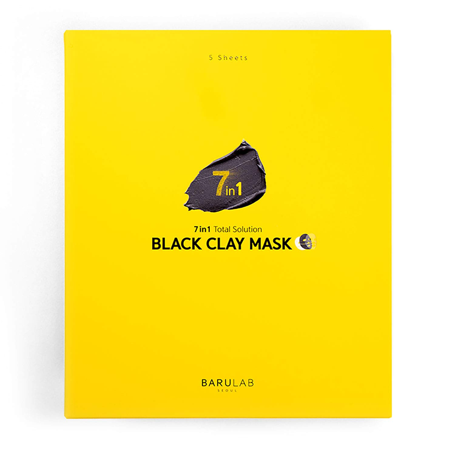 Barulab, Korean Facial Mask Black Clay Mask Sheets X 5EA | 7 in 1 Total Solution | Deep Cleansing | Moisturizing | Exfoliating | Sebum Control