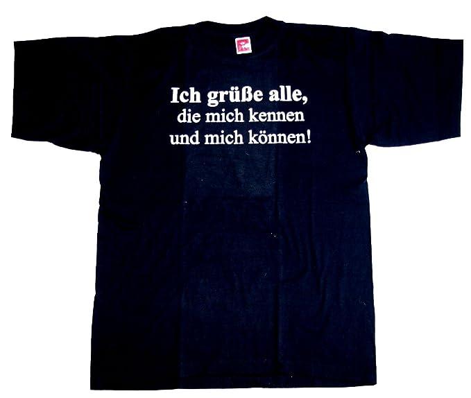 T-Shirt Ich grüße alle, die mich kennen Größe L Baumwolle Siebdruck Funshirt  Fasching