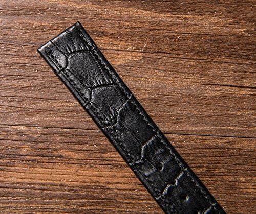 20mm 時計バンド 薄い 腕時計のバンド 12mm 14mm 16mm 18mm 20mm 22mm 時計ストラップ 本革 替えベルト 替えバンド ベルト 交換 耐水性 装着簡単 バックル 尾錠 (20mm, 黒い)