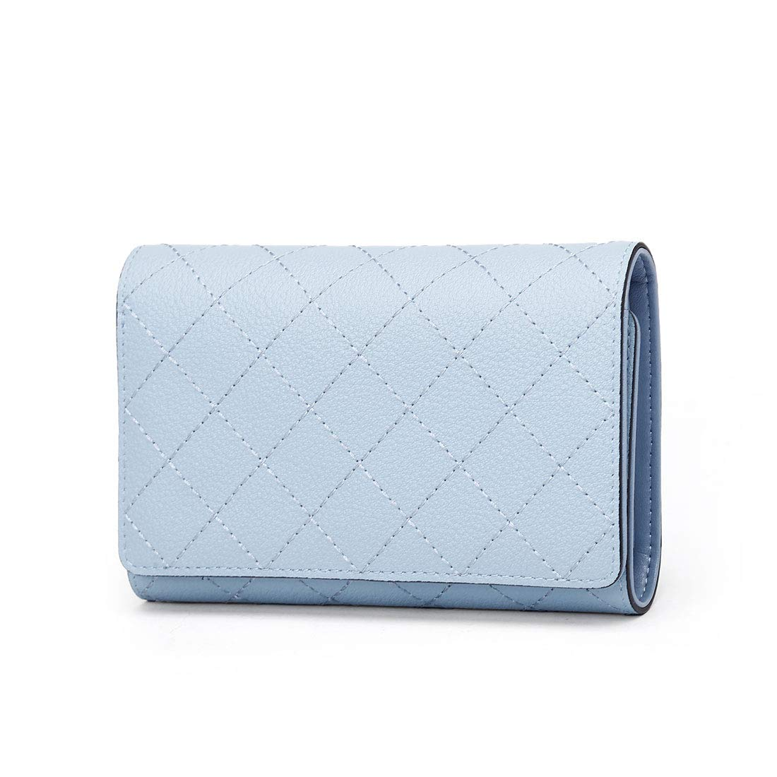 Women Genuine Leather Wallets Trifold Small Card Holder Clutch Purse with Zipper Pocket Blue