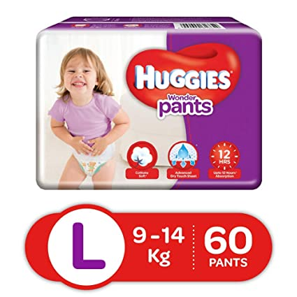 0e59686196 Buy Huggies Wonder Pants Large Size Diapers (60 Count) Online at Low Prices  in India - Amazon.in