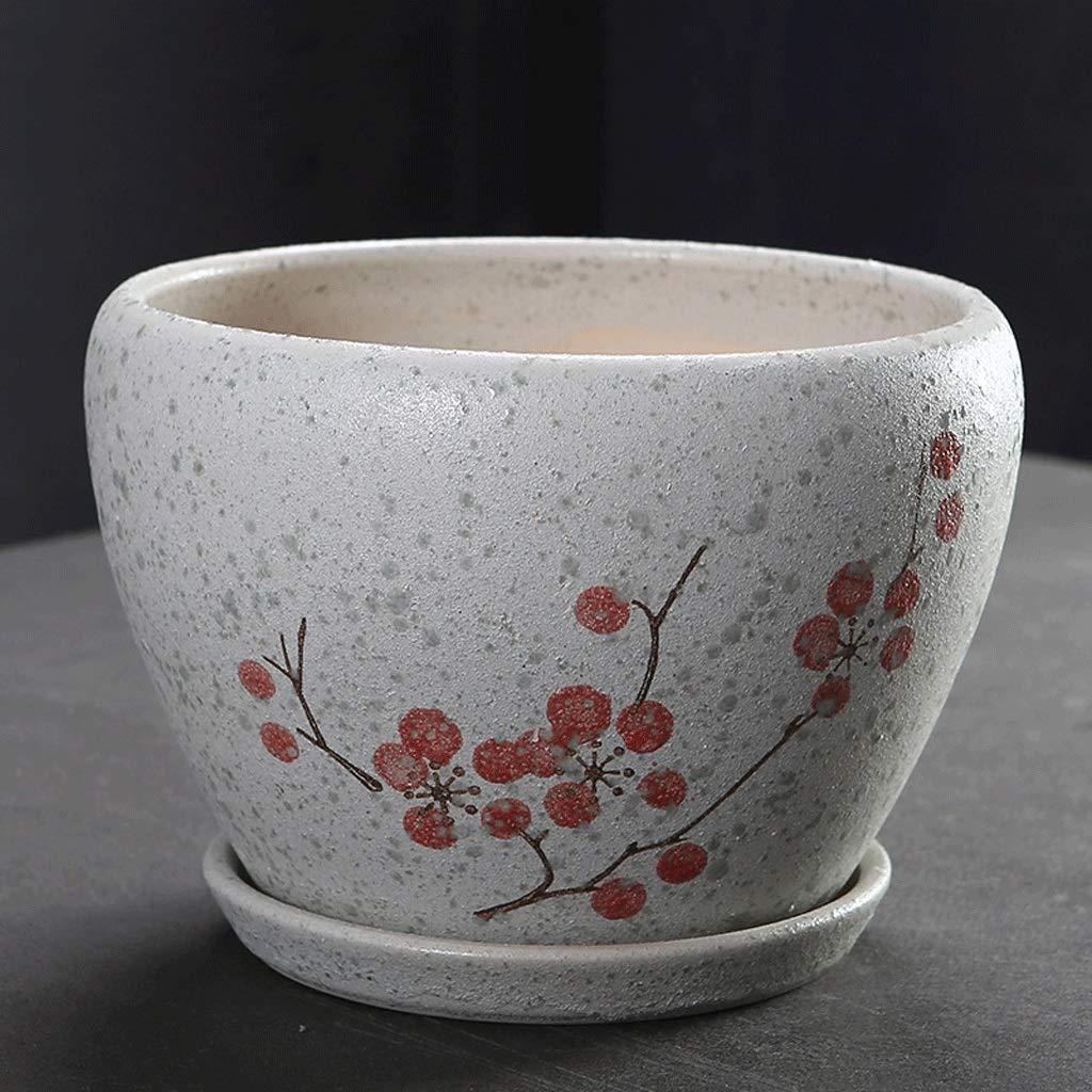 vendita calda CKH Creativo Semplice Ceramica Rosso Prugna Vaso di di di Fiori Diviso con Vassoio Ispessimento Desktop Vaso di Fiori di ravanello verde (Dimensione   M)  fantastica qualità