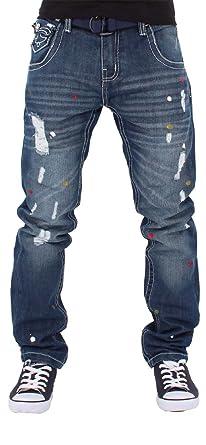 Peviani Herren Jungen Multi Farbe Patch Zerrissen Star Jeans Hip G Hop Club  Zerissen - Blau