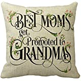 PSDWETS Best Moms Get Promoted to Grandmas Home Decor Pillow Covers Cotton Linen Throw Pillow Case Cushion Cover 18 X 18(Mom Gifts,Mother's Day Gifts,Mom Birthday Gifts)