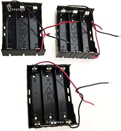 Amazon Com 18650 Battery Case Holder 3 Pcs 3 Slots X 3 7v 11 1v Diy Battery Storage Box In Series Black Plastic Batteries Case With Wire Lead For Soldering 3 X 18650 By Ltvystore